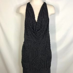 Alice & Olivia size M black beaded slouch neck top